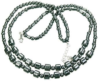 Design 14096: black,gray hematite charm necklaces