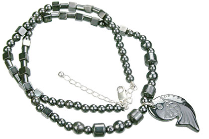 Design 14102: gray hematite charm, mens, pendant necklaces