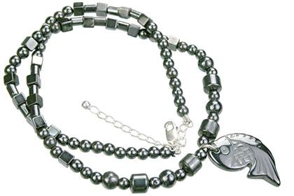 Design 14102: gray hematite charm, mens, pendant necklaces