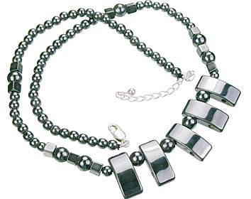 Design 14106: black,gray hematite charm, mens, pendant necklaces