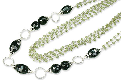 Design 14111: black,green peridot necklaces