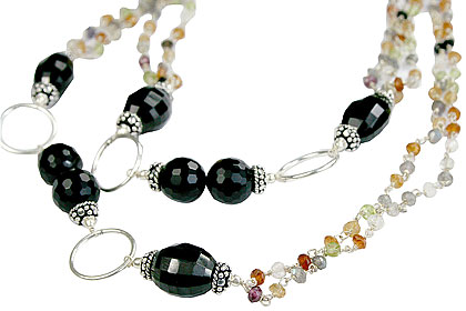 Design 14112: black,multi-color multi-stone necklaces