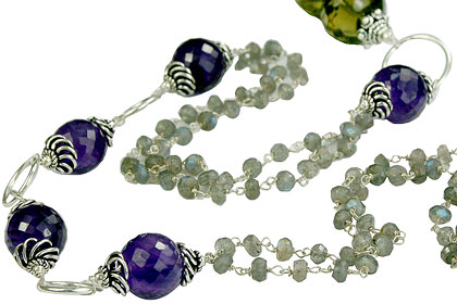 Design 14113: brown,gray,purple multi-stone necklaces