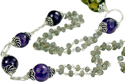 Design 14113: brown,gray,purple multi-stone necklaces