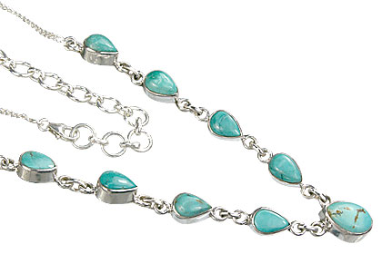 Design 14377: blue,green turquoise drop necklaces