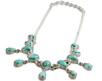 Design 14380: blue,green turquoise necklaces