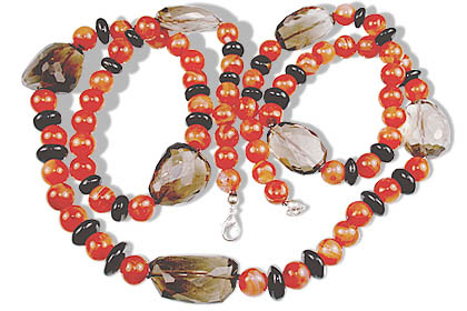 Design 14695: brown,orange carnelian necklaces