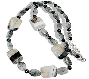 Design 14707: black,gray onyx necklaces
