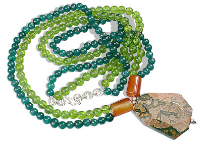 Design 14736: green,orange aventurine contemporary necklaces