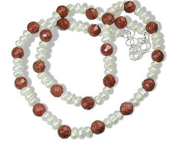 Design 14740: orange,white pearl classic necklaces
