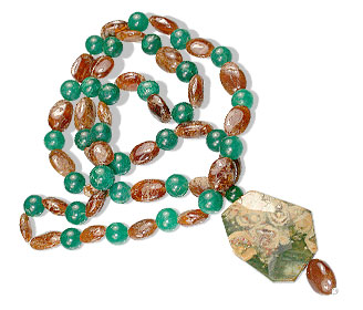 Design 14742: green,orange sunstone necklaces