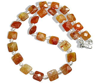 Design 14746: orange,white carnelian necklaces