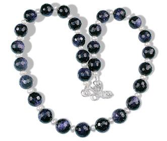 Design 14759: blue,white goldstone necklaces