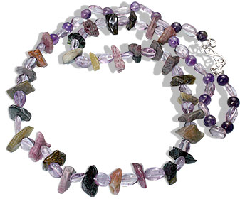 Design 14818: purple,multi-color amethyst chipped necklaces