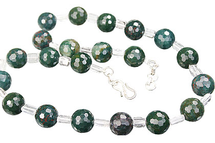 Design 14821: green,white bloodstone necklaces