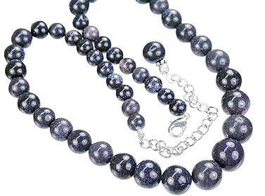 Design 14871: blue goldstone necklaces