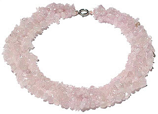 Design 14911: pink rose quartz chipped necklaces