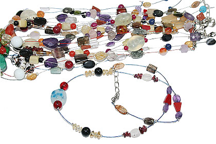 Design 15261: multi-color bulk lots necklaces