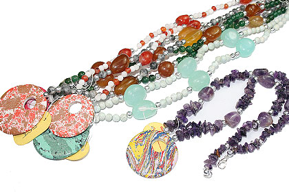 Design 15266: multi-color bulk lots necklaces