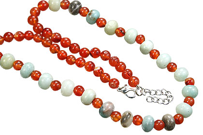 Design 15565: green,orange carnelian necklaces