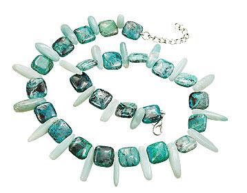 Design 15574: green,white ammonite necklaces