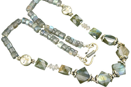Design 15616: blue,gray,purple labradorite necklaces