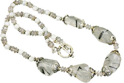 Design 15620: black,gray,white rutilated quartz necklaces