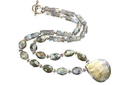 Design 15622: green,gray labradorite necklaces