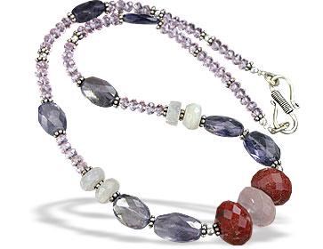 Design 15624: pink,multi-color multi-stone necklaces