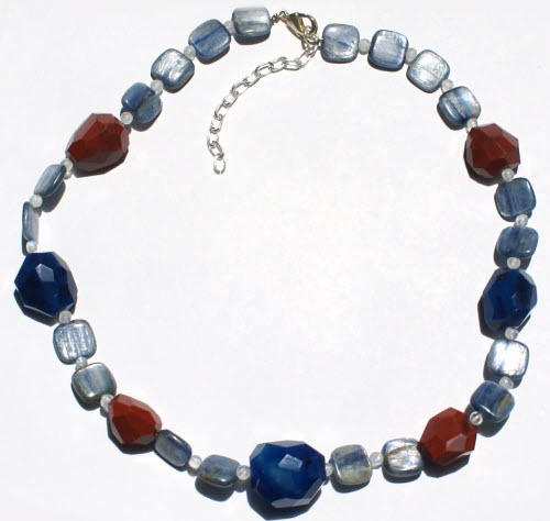 Design 15726: blue,brown,multi-color kyanite tumbled necklaces