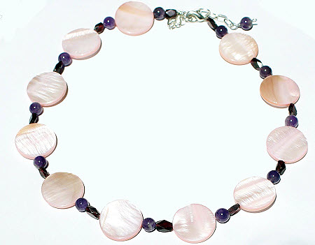 Design 15732: pink,purple,multi-color mother-of-pearl simple-strand necklaces