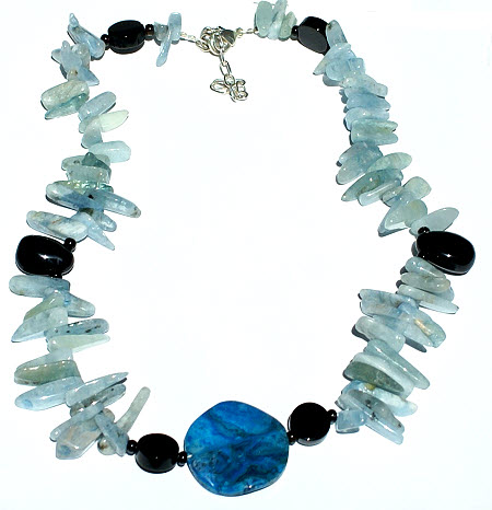 Design 15734: black,blue,multi-color aquamarine chipped necklaces