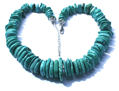 Design 15758: blue,green turquoise chunky necklaces