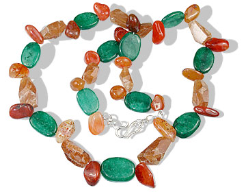 Design 16387: green,orange sunstone necklaces