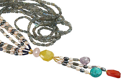 Design 16388: green,gray,multi-color multi-stone necklaces