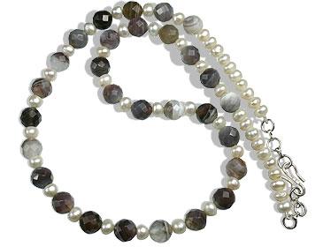 Design 16391: gray,white pearl classic necklaces