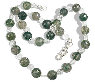Design 16393: green,white crystal necklaces