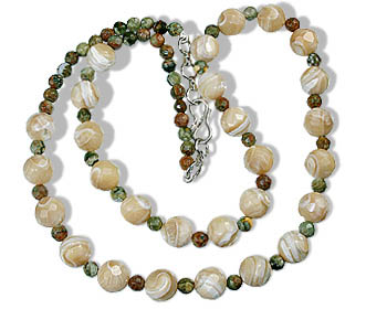 Design 16395: green,white unakite necklaces