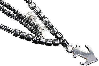 Design 16399: black hematite charm necklaces