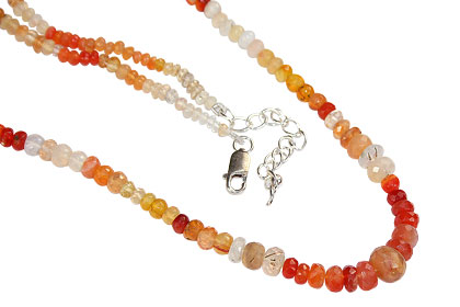 Design 16401: orange,multi-color opal classic necklaces