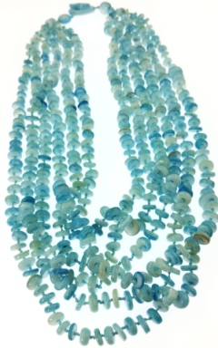 Design 20469: blue mother-of-pearl necklaces
