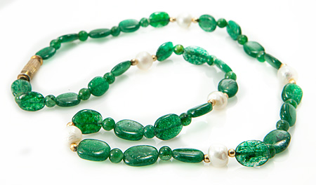 Design 21203: green aventurine necklaces