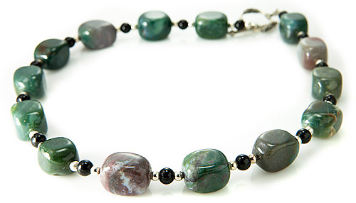 Design 21211: green jasper necklaces
