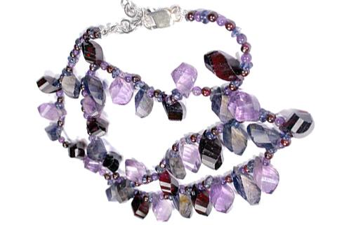 Design 9233: blue,purple,red garnet necklaces