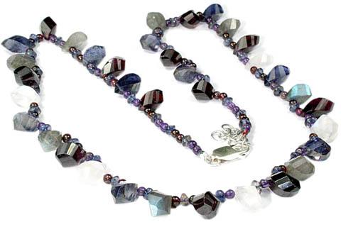 Design 9284: blue,white multi-stone necklaces
