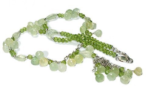 Design 9288: green prehnite necklaces
