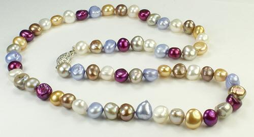 Design 9343: blue,purple,white pearl simple-strand necklaces