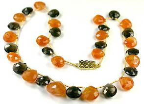 Design 9434: multi-color multi-stone briolettes necklaces