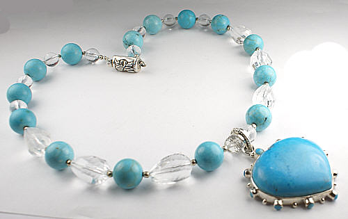 Design 9452: blue turquoise chunky, heart, pendant necklaces