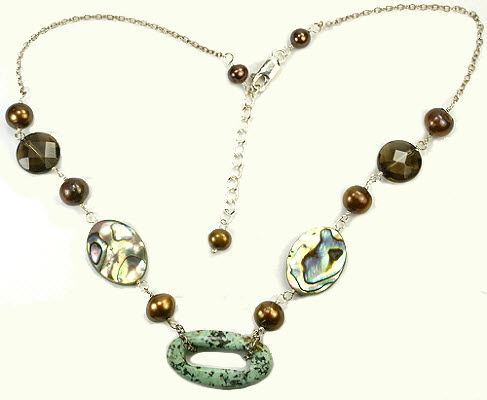Design 9493: brown,green,multi-color abalone donut necklaces